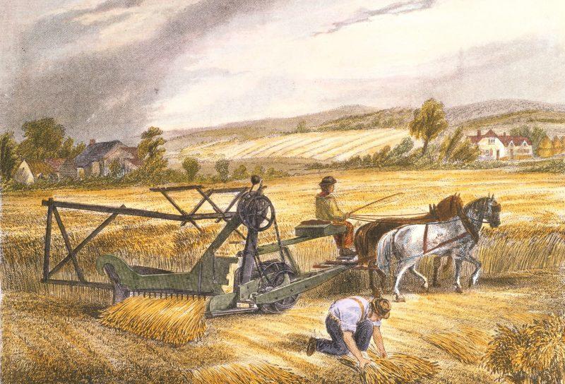 Mesin pemanen oleh Cyrus McCormick (1831) [Gambar: thoughtco.com]