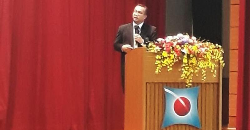 Rektor IPB Arif Satria saat diundang sebagai pembicara utama dalam Konferensi Global Ecology, Agriculture and Rural Uplift Program (GEAR UP) ke-5 di Taiwan. (Foto: dok. IPB)