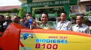 Menteri Pertanian, Andi Amran Sulaiman dalam Kegiatan Uji Coba Bahan bakar B100 di Kementerian Pertanian. Senin 15/4/2019