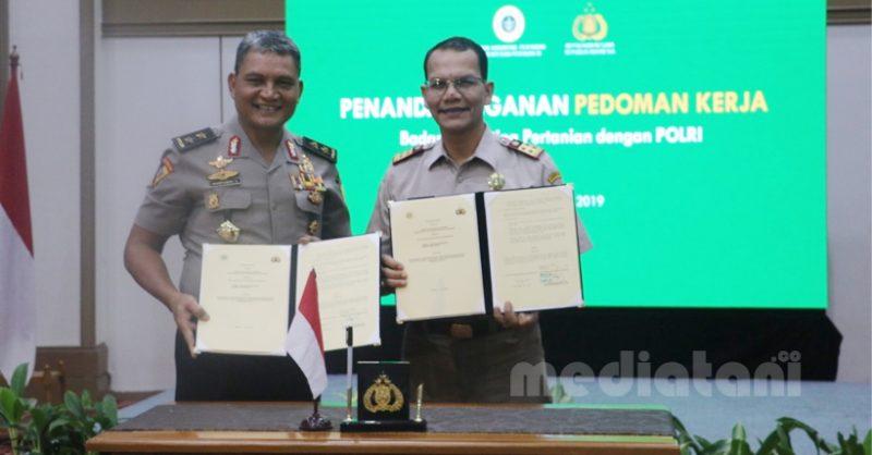 Penandatanganan nota kesepahaman Barantan dengan Polri di Auditorium Gedung D, Jakarta Selatan, Rabu (17/7)