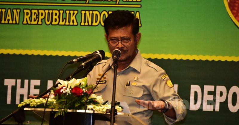 Menteri Pertanian, Syahrul Yasin Limpo dalam acara Rakernas di Depok, 13/1/2020