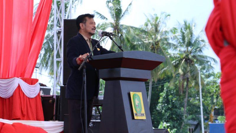 Mentan Syahrul Yasin Limpo saat berpidato di salah satu peternakan di Kabupaten Sinjai (30/7/2020).