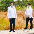 Presiden Jokowi didampingi mentan SYL dan Menhan Prabowo saat mengunjungi rencana lokasi food estate di Kalteng