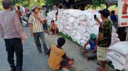 Para petani Kabupaten Tuban ketika menurunkan paksa pupuk subsidi dari truk.