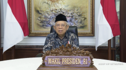 Wapres Ma'ruf Amin memberikan sambutan Dies Natalis IPB University ke-57.