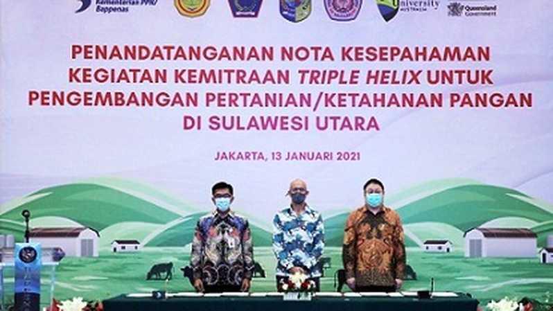 Kementerian PPN/Bappenas menginisiasi kerja sama kemitraan Triple Helix untuk pengembangan pertanian/ketahanan pangan di Sulawesi Utara/IST