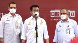 Menteri Pertanian Syahrul Yasin Limpo memberikan keterangan pers usai Rapat Terbatas mengenai Penguatan Ekosistem Pangan, Rabu (06/10/2021) di Istana Merdeka, Jakarta. (Foto: setkab.go.id)